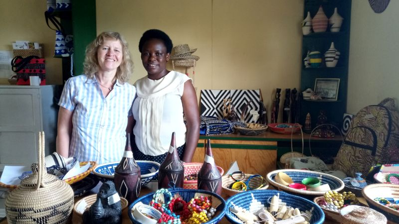 Sabine Schneider and Yvonne Uwamahoro at Mother Union's gift shop
