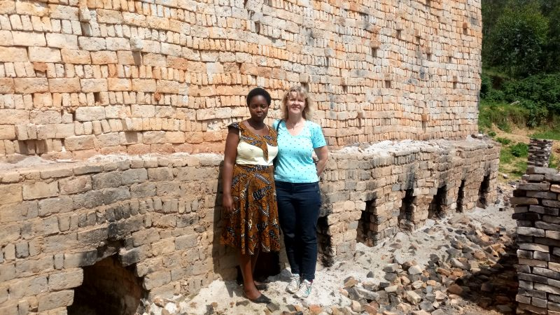 Sabine Scheider and Sarah Uwayezu at MILT company that is producing liners for RDIS Stoves
