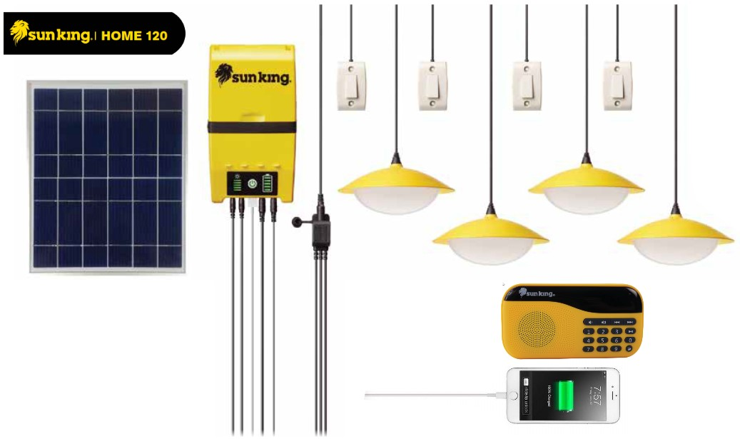 SunKing Home 120 with 4Lamps and 1Radio mobilePhone